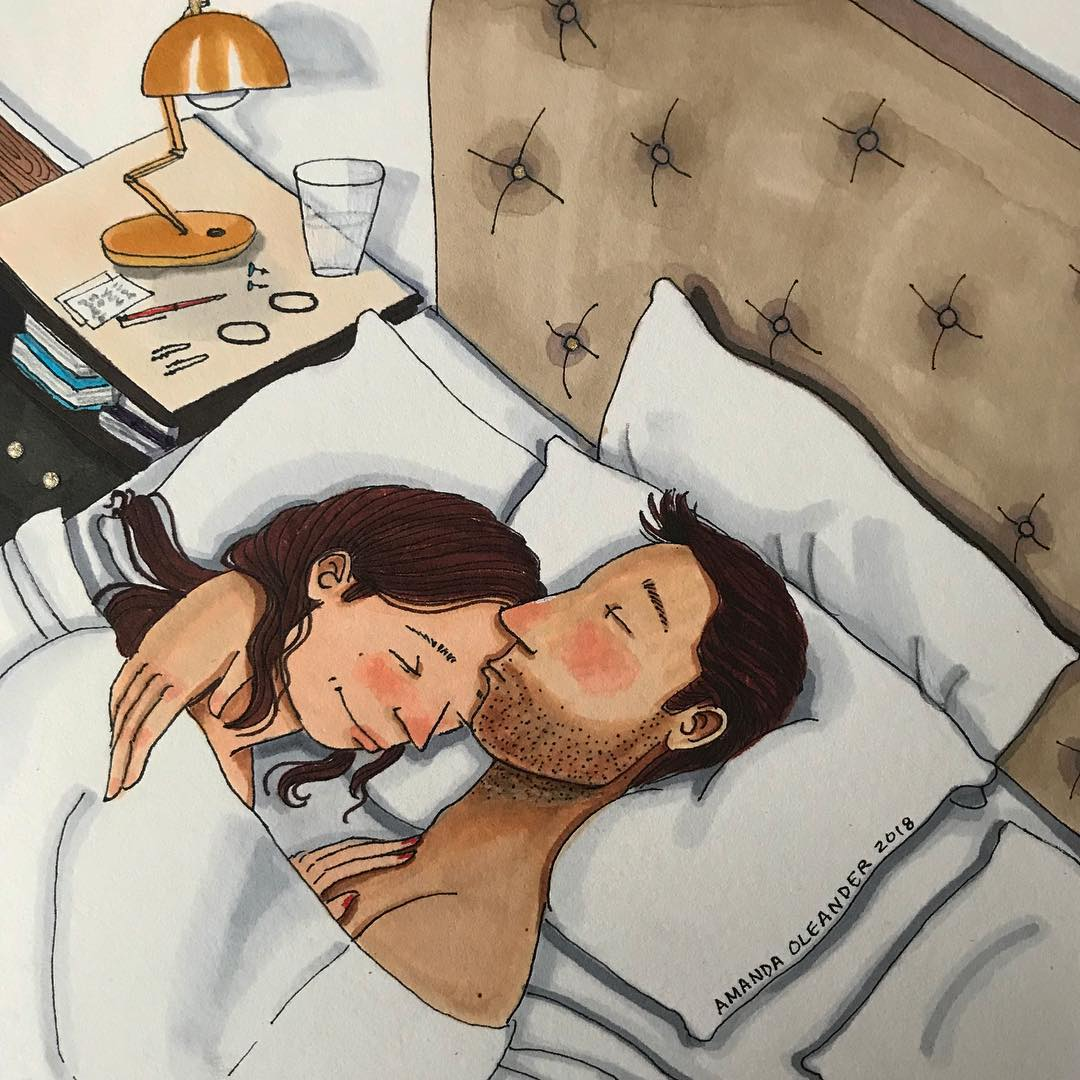 artwork of a man kissing his woman's forehead in the bed