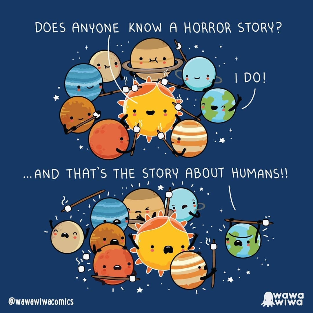 comic about earth talking to other planets saying that she knows a horror story about humans