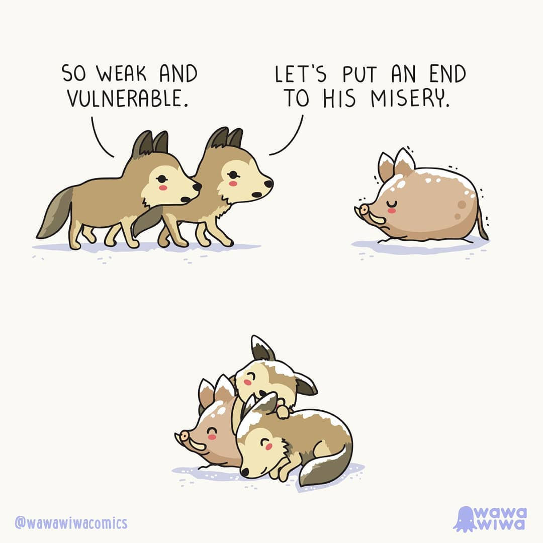 comic about a wolf and a wild pig being friends
