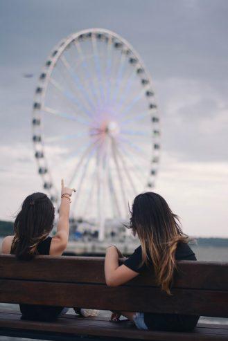 women admiring a Ferris wheel