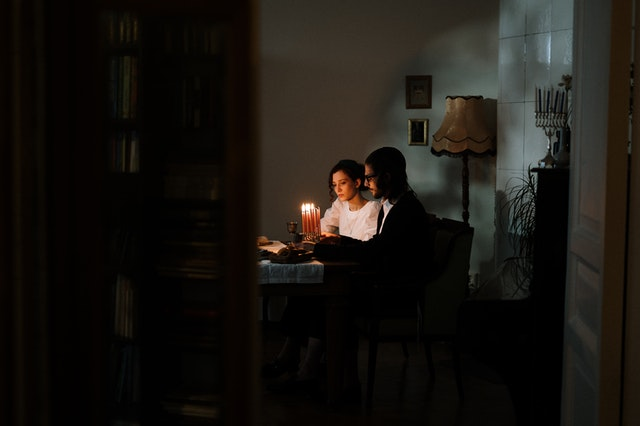 couple having dinner date at home