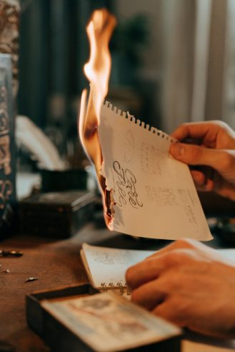 a paper burning