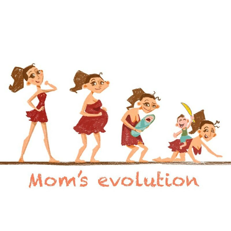 comics of an evolution of a mom