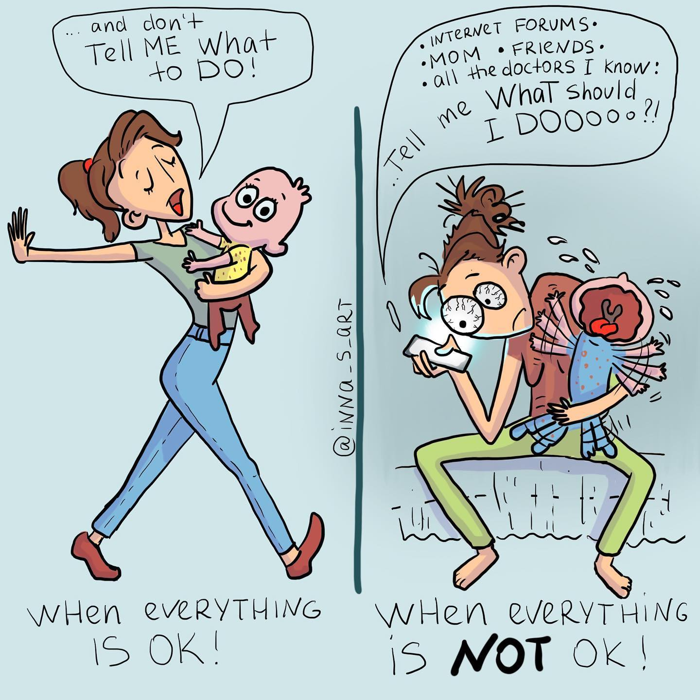 a comics comparing a mom when her child is okay and when he is not