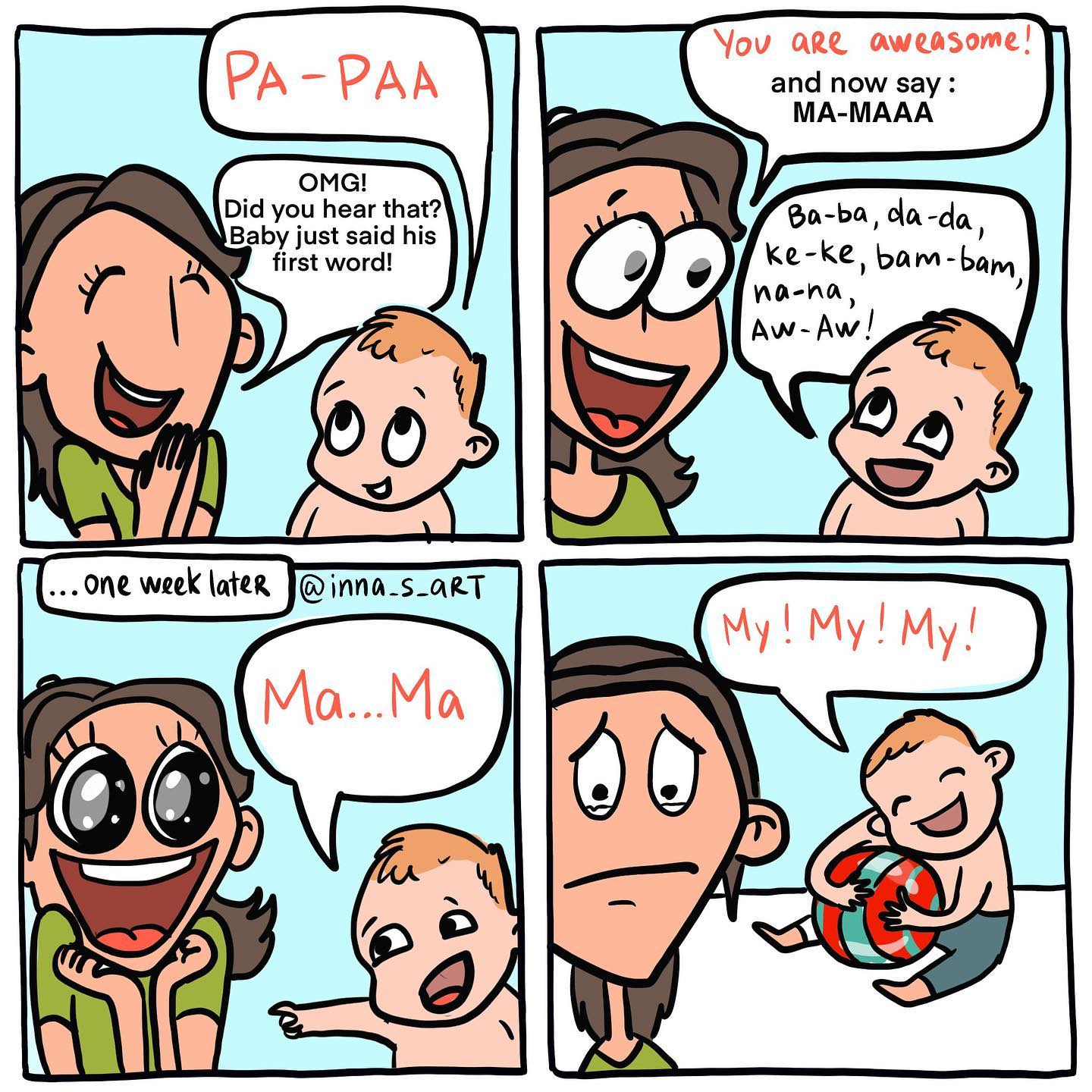 comics of a happy woman because her child said mama