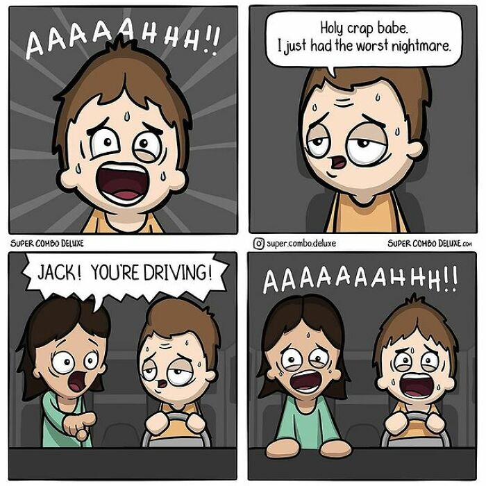 comics about a man freaking out while driving
