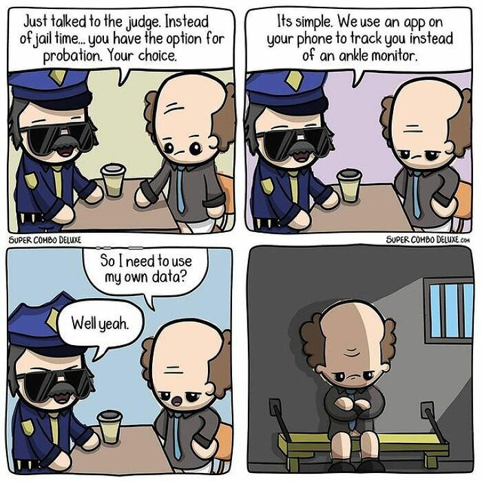 comics about a prison officer talking to an inmate