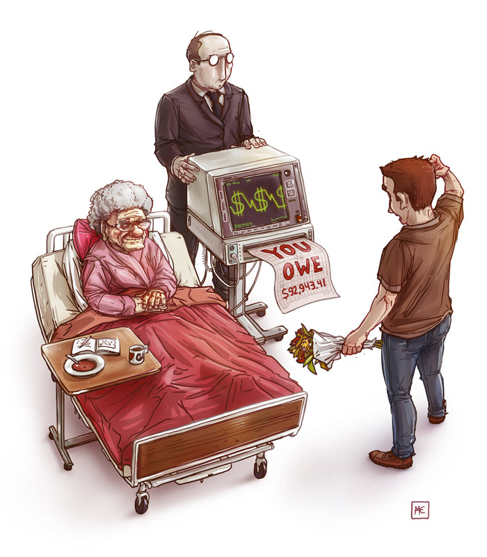 illustration of a sick woman and her loved one with the money he owes