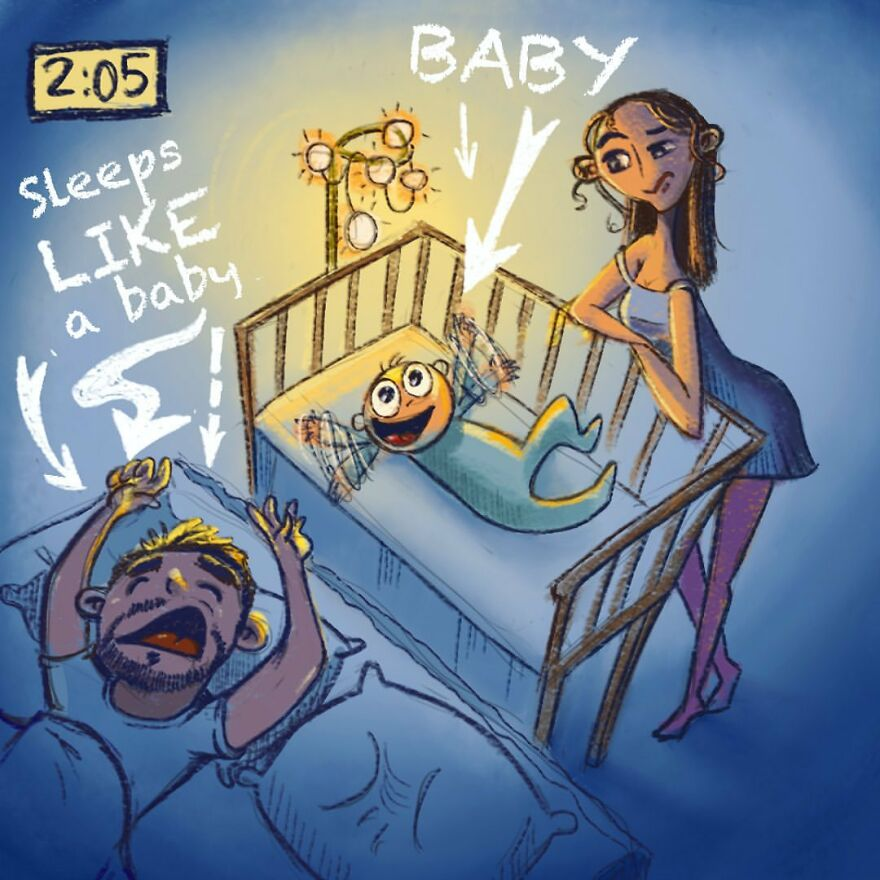 comics of a man sleeping faster than his baby