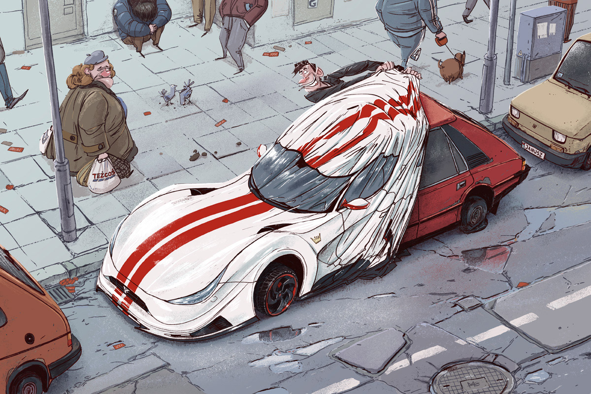 illustration of a man showing off his car to people on the street