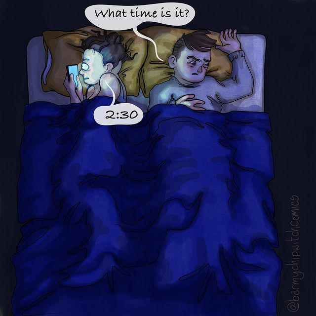 comics of a woman looking at her phone while sleeping next to her man