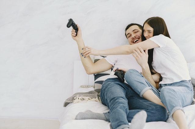 man and woman having fun
