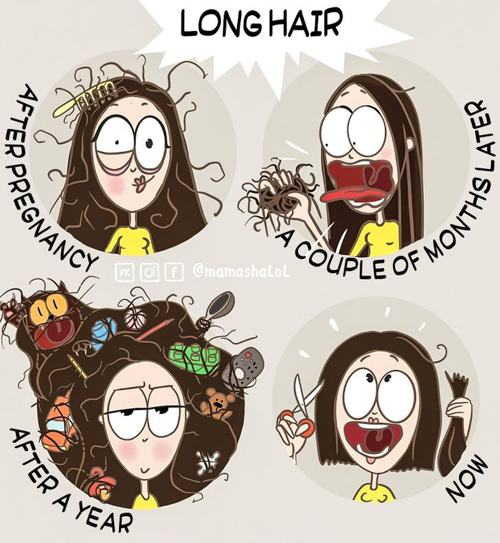 comics of a woman cutting her hair short during marriage